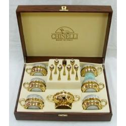 Чайный набор на 6 персон в деревянной подарочной коробке (6 чашек, 6 ложек, сахарница)