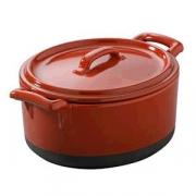 Горшок для запекания с крыш., фарфор, 450мл, красный,черный