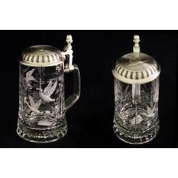Пивная кружка стеклянная с крышкой «Утки» (серо-черный)0,5 л