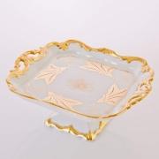 Блюдо квадратное н/н 21см «Кленовый лист белый»