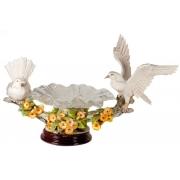 Скульптура «Голуби с двумя хрустальными тарелками» 39х70