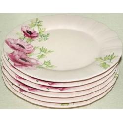 Набор из 6 закусочных тарелок «Розовые маки» 20 см