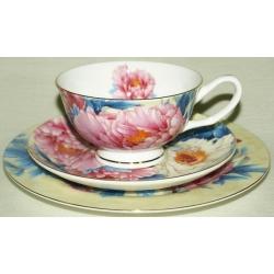 Набор чашка, блюдце, десертная тарелка «Разноцветные пионы»