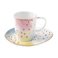 Чашка с блюдцем Брызги красок в подарочной упаковке