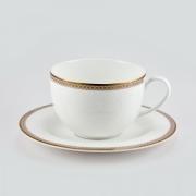 Чашка 210мл с блюдцем 15см «Золотая вышивка»