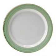Тарелка мелкая «Рио Грин»; фарфор; D=23см; белый,зелен.