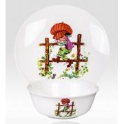 Набор из двух предметов: Тарелка + салатник «Мальчик на заборе»