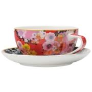 Чашка с блюдцем (красная) Цветы в подарочной упаковке