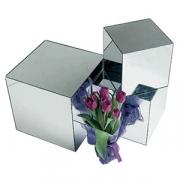Подставка зеркальная в форме куба, пластик,стекло, H=25,L=25,B=25см, металлич.