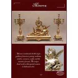 Часы на мраморе «Минерва» золото 47х48 см.