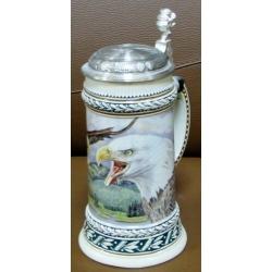 Пивная кружка керамическая «Белоголовый орлан» Объем - 0,5 л