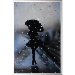 Девушка под дождем, 23х30 см, 121 кристалла