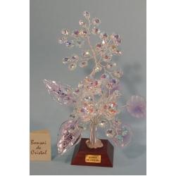 Бонсай с хризантемами, лиловая 24см