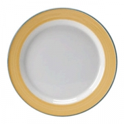 Тарелка мелкая «Рио Еллоу»; фарфор; D=25.5см; белый,желт.