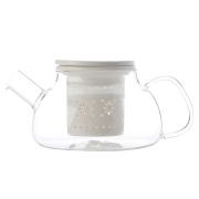 Чайник стекл с ситечком и крышкой из фарфора Лилия (белый) в подарочной упаковке