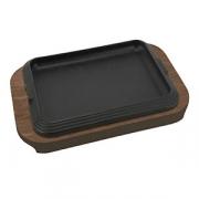 Сковорода для фахитос на подставке, чугун,дерево, H=38,L=360/300,B=230мм, черный,бордо