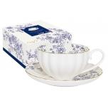Чашка с блюдцем Голубые пионы