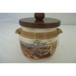 Банка для сыпучих продуктов с деревянной крышкой (мука) «Илария»