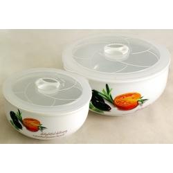 Набор из 2-х салатников с крышками «Помидоры и оливки» 16 и 13 см