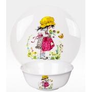 Набор из двух предметов: Тарелка + салатник «Девочка с бабочкой»