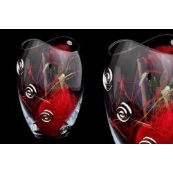 Декоративная ваза 25 см с искусственными цветами (роза).Стекло и хрусталь