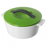 Кастрюля для запекания с крышкой, фарфор, 2.4л, D=23,H=14см, белый,зелен.