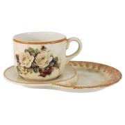 Чашка на маленьком подносе Роза и малина