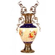 Декоративная ваза золотая бронза «Цветы» с двумя ручками h-69