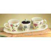 Набор: 2 чашки+сахарница на подносе 41см «Прованс»