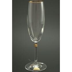 Бокал для шампанского 175 мл «Глория» декор золотая кайма по верху рюмка+ отделка золотом деталей на ножке