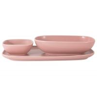 Набор Форма розовый: тарелка + 2 салатника в подар.упаковке
