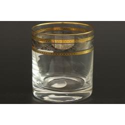 Стакан для виски 280 мл Гольф, выполнен в декоре панто+сочетание платины и золота