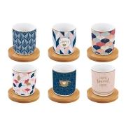 Набор: 6 чашек + 6 блюдец из бамбука для кофе Милый дом в подарочной упаковке