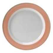 Тарелка мелкая «Рио Пинк»; фарфор; D=23см; белый,розов.