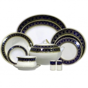Сервиз обеденный 12 перс 55 пр Синий с золотом