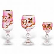 Набор бокалов 18 шт «Лепка розовая» (60,180,190 мл. )