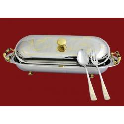 Блюдо с крышкой, с ложкой и вилкой 53х21см в дер коробке «Арбореа»