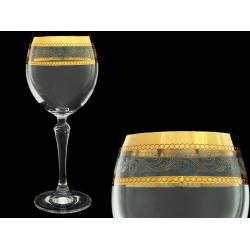 Бокал для вина Люция, Широкое золото + бесцветная волна (набор 6 шт.)