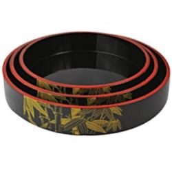 Блюдо-барабан для суши дерево; D=27,H=5см; черный,желт.