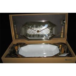 Блюдо для горячего с крышкой и фарфоровой вставкой с вилкой и ложкой «Dubai Gold»