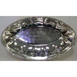 Блюдо овальное «Регина Сваровски» 24х14 см.Посеребренный металл