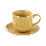 Чашка с блюдцем (жёлтая) Ambiente без инд.упаковки
