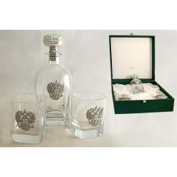 Набор для виски:штоф и 2 бокала «Россия» (серебро)