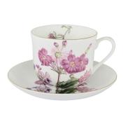 Чашка с блюдцем (розовые цветы) Лаура в подарочной упаковке