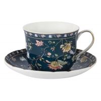 Чашка с блюдцем Флора (синяя) большая в подарочной упаковке