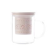 Кружка стекл с ситечком и крышкой из фарфора Лилия (розовая) в подарочной упаковке