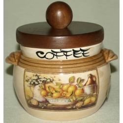 Банка для сыпучих продуктов с деревянной крышкой (кофе) «Лимоны» 0,5 л