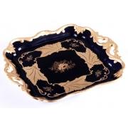 Блюдо квадратное 21см «Кленовый лист синий»