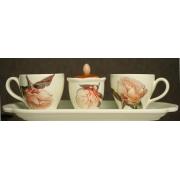 Набор: 2коф.чашки+сахарница на подносе, Дл 30см «Роза»