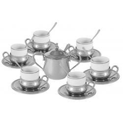Кофейный набор на 6 персон «Экстра-люкс» Посеребренный металл.